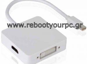 3 In 1 Mini Displayport To DVI or HDMI or Displayport Converter (For Mac Pro White)