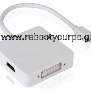 3 In 1 Mini Displayport To DVI or HDMI or Displayport Converter (For Mac Pro White)
