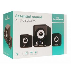 POWERTECH ηχεία Essential sound PT-843, 2.1, 5W + 2x 3W, 3.5mm, μαύρα